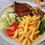 Rump steak dinner, 9.50 + 7% vat, beautifully cooked, steak melted in mouth, loads of chips, lov