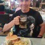 celebrating the Trafalgar Special burger, 6.50 + 7% vat much enjoyed by my other half
