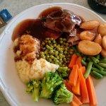 lamb dinner, pork,chicken,beef option also fresh veg real mash 10eu awesome