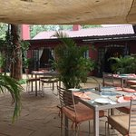 Patio of restaurant where we breakfast every morning.