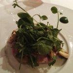 carpaccio museau et pied de porc confit au foie gras