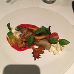 Baked eggplant with piquillo coulis and chantarelles