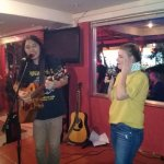 "Me with my new friend Claire on vocals, we were singing ""Lucy in the Sky with Diamonds""."