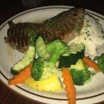 New York Steak, Mashed Potatoes, Assorted Veggies