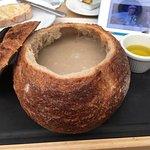 Mushroom soup in a roll .....