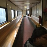 Inside the passenger part of the ferry.