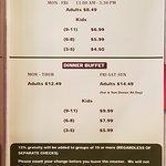 menu pricing for buffet.