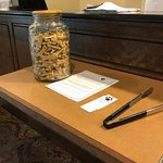 Dog treats at the front desk.