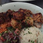 Mixed shish kebab, salad and rice
