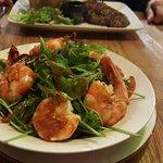 Stir-fried salad with jumbo shrimp
