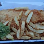 This is a large cod and a half portion of large chips.