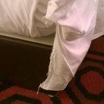 Threadbare sheets.
