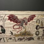 The tapestry showing one of the dragons.