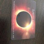 Souvenir room card key showing eclipse