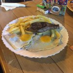 Steak with chips and egg.
