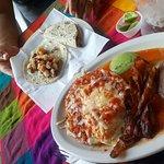 huevos rancheros and shrimp taco