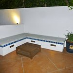 Seating area by pool