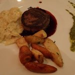 Bison wrapped in bacon, shared potato gratin and roasted vegies