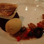 s'more dessert - chocolate cake with marshmallow and ice cream
