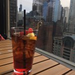 Shirley Temple at the rooftop happy hour at Cambria Hotel & Suites.