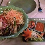 SomTam Spicy Salad & Satay Gai for shared starters