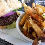 28 day aged striploin burger   ciabbatta bun   lettuce   tomato   red onion....and fabulous frie