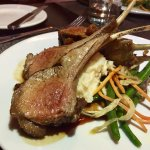 Rack of lamb served with mashed potatoes & seasonal vegetables
