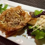 Honey baked pear & walnut tart   blue cheese   celeriac slaw   pea shoots