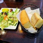 salad and bread brought with meal
