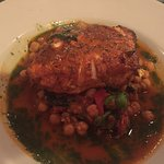 Blackened Swordfish with chickpeas and italian sausage