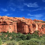 The cliff dwellings are hidden within these awesome red sandstone cliffs