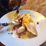 Mango parfait and coconut tuile