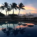 A magical sunrise by the pool at the Halekulani.