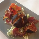 fig, blue cheese and coppa ham