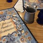 Swedish design; cobalt blue & pewter mugs.