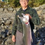 One of two coho salmon that I caught with the expert guidance of Paul and JP with Chum Fun.