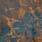 A close-up of some of the petroglyphs