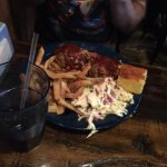 brisket with slaw, fries and cornbread