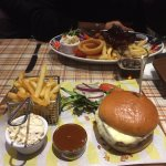Burgers and hubby had ribs