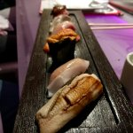 Chef's selection adventurous. That's anago (sea eel) in front. Amazing.