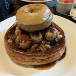 Huge Yorkshire, mustard mash, Cumberland sausage, onion gravy and 2 huge onion rings!