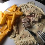steak with mushroom sauce with chips