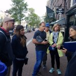 Emile with our small tour group in front of Anne Frank house