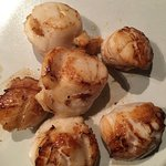 Scallops cooked in olive oil and butter