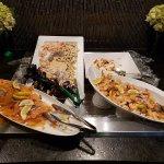 salmon, shrimp and small scallop.