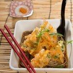 soba noodle soup with tempura vege