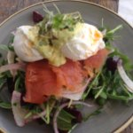 Smoked salmon and poached eggs on treacle bread