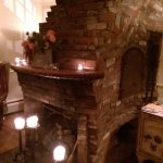 Historic fireplace in the entrance lobby. Loved the quirky shape.