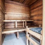 Steam sauna inside our indoor pool & hot tub spot