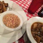 Stew, white beans, home fried potatoes